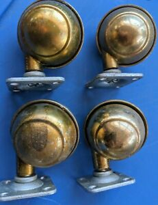 4x Vintage Bassick Swivel Ball And Socket Casters All Metal Work Great