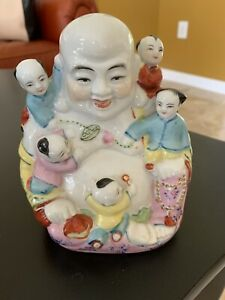 Chinese Famille Rose Buddha With Children Porcelain Figure Statue Midcentury