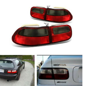 For 92 95 Honda Civic 2 4 Dr Jdm Red smoke Tail Light Brake Lamps Pair Set