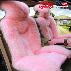 Genuine Sheepskin Long Wool Car Front Seat Covers Set Winter Warm Universal Pink