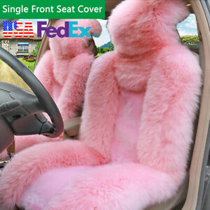 Fluffy Long Wool Pink Seat Cover Cushion Warm Winter Mat Universal Us Stock