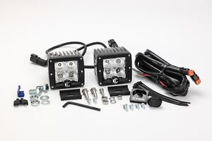 Kc Hilites 332 Pair Clear 12w Led Flood Lights W mounts Wiring Harness