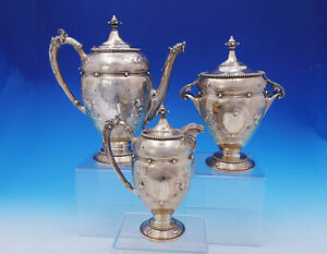 Gorham Coin Silver Coffee Set Hand Chased Repousse Antique 3pc 30 3588