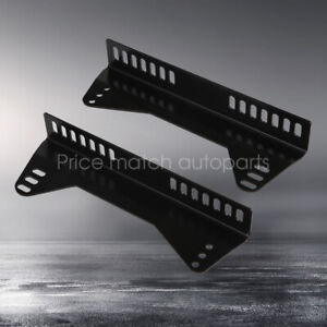 Black Universal Side Mount Bucket Seat L Brackets One Pair For One Seat