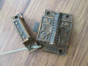 Antique Cast Iron Cabinet Cupboard Door Brass Twist Latch Keeper Hardware