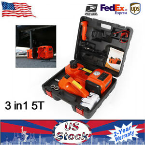 Dc12v 5 Ton Electric Hydraulic Floor Jack Lift Impact Wrench Car Repair Tool Ups