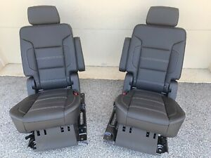 2017 Yukon Denali Cadillac Escalade Tahoe Second Row Captains Chairs Seats Black