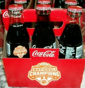 Coca-Cola 6 pack CLEMSON TIGERS 2018 NATIONAL CHAMPIONS Commemorative Bottles