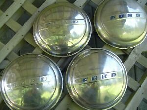1947 1948 Ford Super Deluxe Coupe Pickup Truck Hubcaps Wheel Covers Center Caps