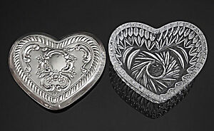 Towle Vintage Trinket Box Cut Glass Sterling Silver Lid Heart Shaped