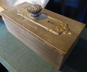 Vintage Folk Art Wood Box W Antique Door Knob Decorative