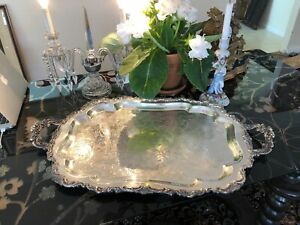 Large 9lb Shabby 30 X18 Silver Plate Drinks Sandwiches Serving Tray 1953
