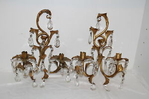 2 Vintage Italian Gold Gilt Candle Wall Sconces W Crystal Prisms Leaves