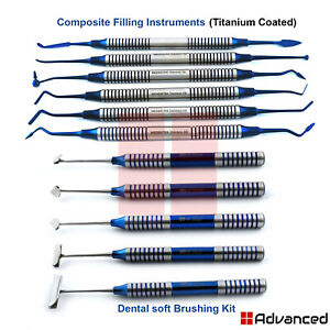Titanium Coated Soft Brushing Kit Dental Composite Filling Instruments Lab Tools