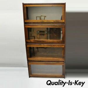 Four Section Vintage Pine Wood Glass Barrister Stack Stacking Lawyers Bookcase