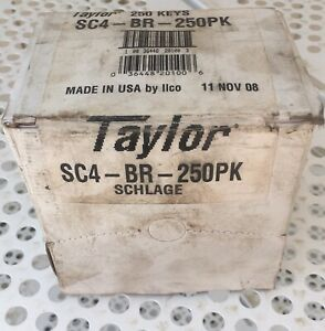 Taylor Ilco Key Blank Sc4 Schlage Box Of 250 Brass Nos Not Counted 5 6 Oz Wt
