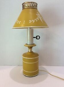 Vintage Small Toleware Mustard Yellow White Accent Lamp 13 5 Tall