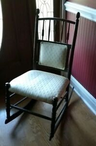 Ladies Wooden And Upholstered Antique Sewing Rocker