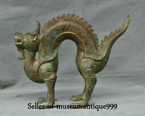 12 8 Old China Bronze Ware Dynasty Feng Shui Dragon Loong Beast Lucky Statue