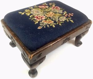 Antique Vtg Victorian French Wood Foot Stool Queen Anne Needlepoint Furniture 1