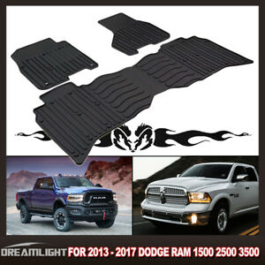 Rubber Floor Mats Black Deep Channels For 2009 2017 Dodge Ram 1500 2500 3pc Set