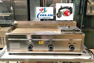 New 40 Outdoor Griddle Fryer Counter Top Taco Grill Burger Fries Propane Use