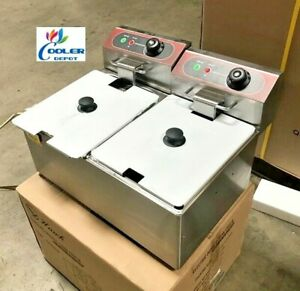 New 16l Double Electric Deep Fryer Counter Top Model Single Basket W Cover 110v