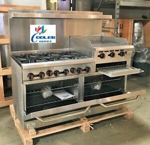 New 60 Double Oven Range Combo Griddle Cheese Melter 6 Burner Hot Plate Nsf