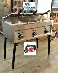 New 3 Burner Compartment Deep Fryer Model Fy21 propane Use Stand Alone Outdoor