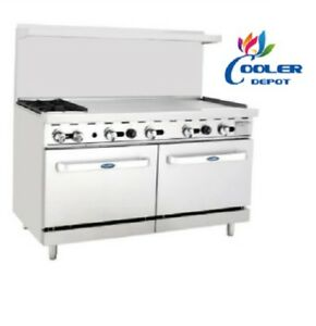 New 60 Commercial Gas Double Oven Range W 2 Burner Hot Plate 48 Griddle Nsf