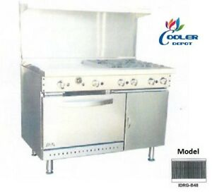 New 48 Oven Range Full Broiler Stove Top Commercial Kitchen Made In Usa Nsf