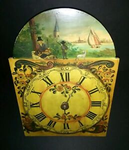 Antique Hand Painted Long Case Clock Face Wooden Works New England Hunt Scene
