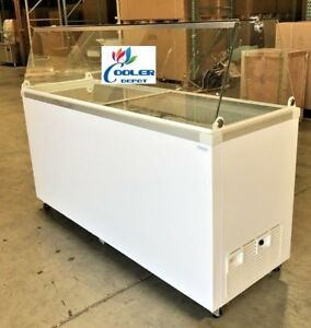 New 70 Ice Cream Gelato Glass Freezer Chest Showcase Display Commercial Nsf