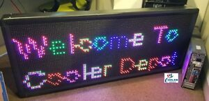 New Led Sign 7 Color Programmable Scrolling Outdoor Message Display 79 X 35