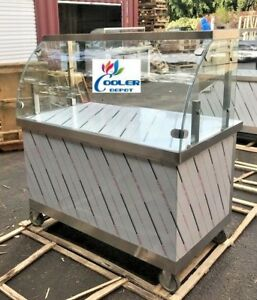New 48 Concession Food Cart Vending Curved Glass Display Push Caster Wheels