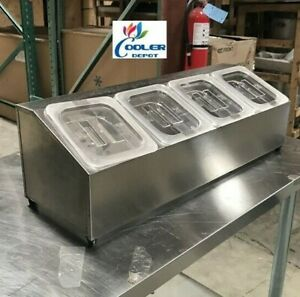 Stainless Steel Condiment Station Salsa Sauces Caddy 4 Container Nsf Commercial