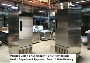 New Commercial Reach In Freezer And Refrigerator Restaurant Package Combo Nsf