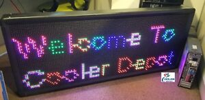 New Led Sign 7 Color Programmable Scrolling Outdoor Message Display 79 X 16