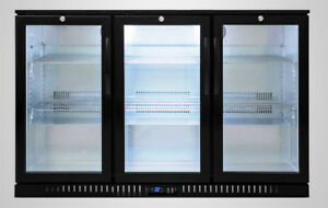 54 Wide 3 door Glass Back Bar Beverage Cooler Beer Fridge Liquor Nsf