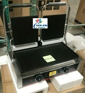 New Double Panini Griddle Sandwich Press Grill commercial Restaurant Cafe 110v