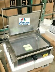 New Panini Sandwich Press Wide Steel Grill Flat Inverted Groove Surface 110v