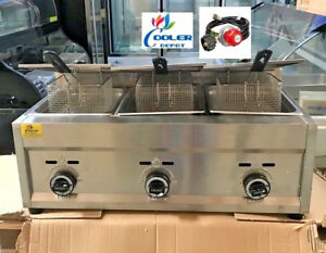 New 3 Burner Commercial Deep Fryer Model Fy5 propane Gas Use Counter Top Outdoor