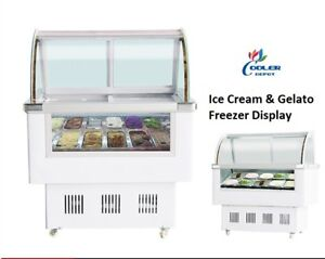 12 Pan gelato Ice Cream Dipping Cabinet Freezer Display Cases Chest Free F10
