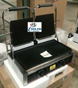 New Double Panini Sandwich Press Grill Smooth Flat Top Restaurant Cafe 110v