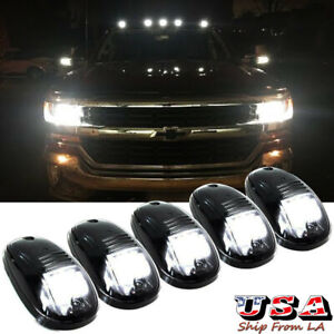 5pcs Smoked Lens Roof Top Cab Lights Led White For Chevy Silverado colorado