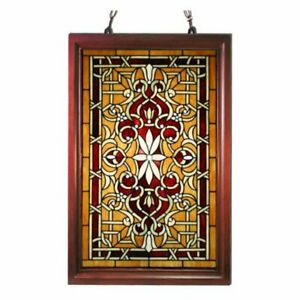 Tiffany Style Wood Frame Stained Glass Window Panel