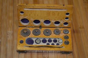 Antique August Sauter Weight Scale Set In Original Wood Box Incomplete Grams