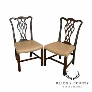 Chippendale Style Custom Quality Pair Mahogany Side Chairs