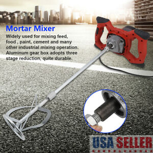 Electric Mortar Mixer 1600w Dual High Low Gear 6speed Stiring Paint Cement Grout