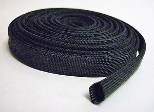 Vulcan Black Heat Protector Woven Sleeve Spark Plug Wire 25ft Made In China New